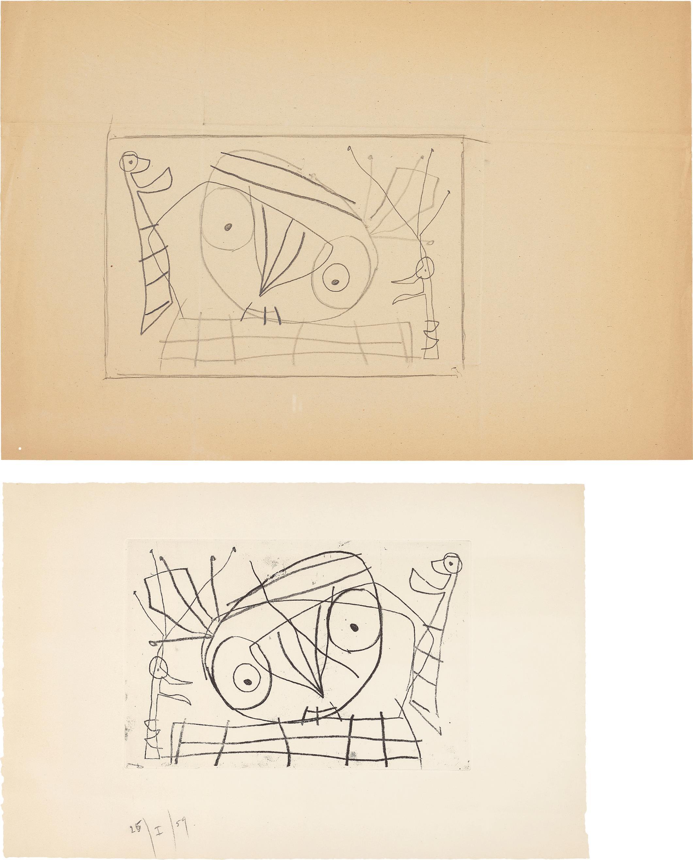 Joan Miro-[Visage/Oiseau]: Two Works-1959
