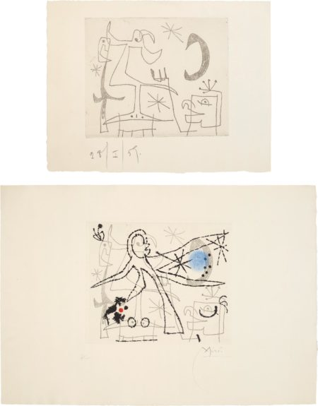 Joan Miro-Loiseau Dresse (Standing Bird): Two Impressions-1960