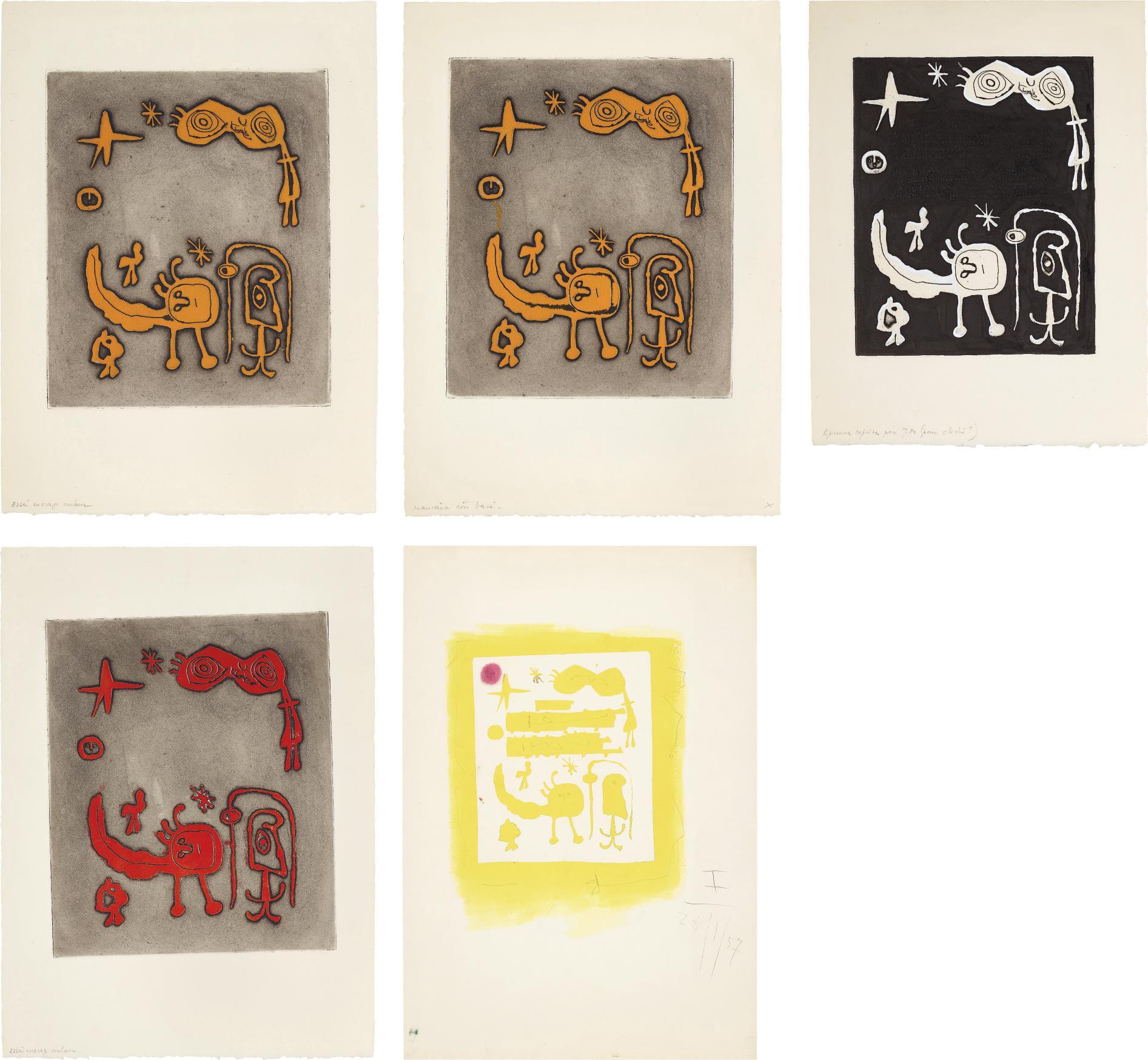 Joan Miro-Ruthven Todd Album, An Alien World For Dolores Miro: Five Impressions-1947