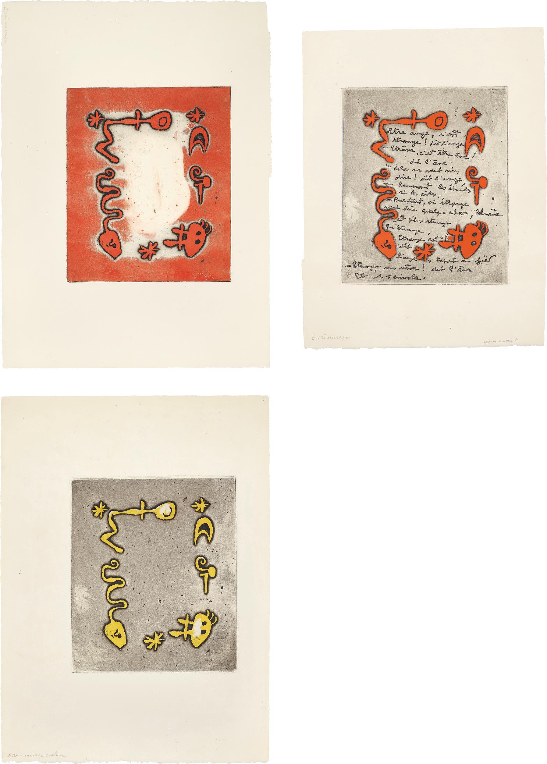 Joan Miro-Ruthven Todd Album, Poem For Diane Bouchard: Three Impressions-1947