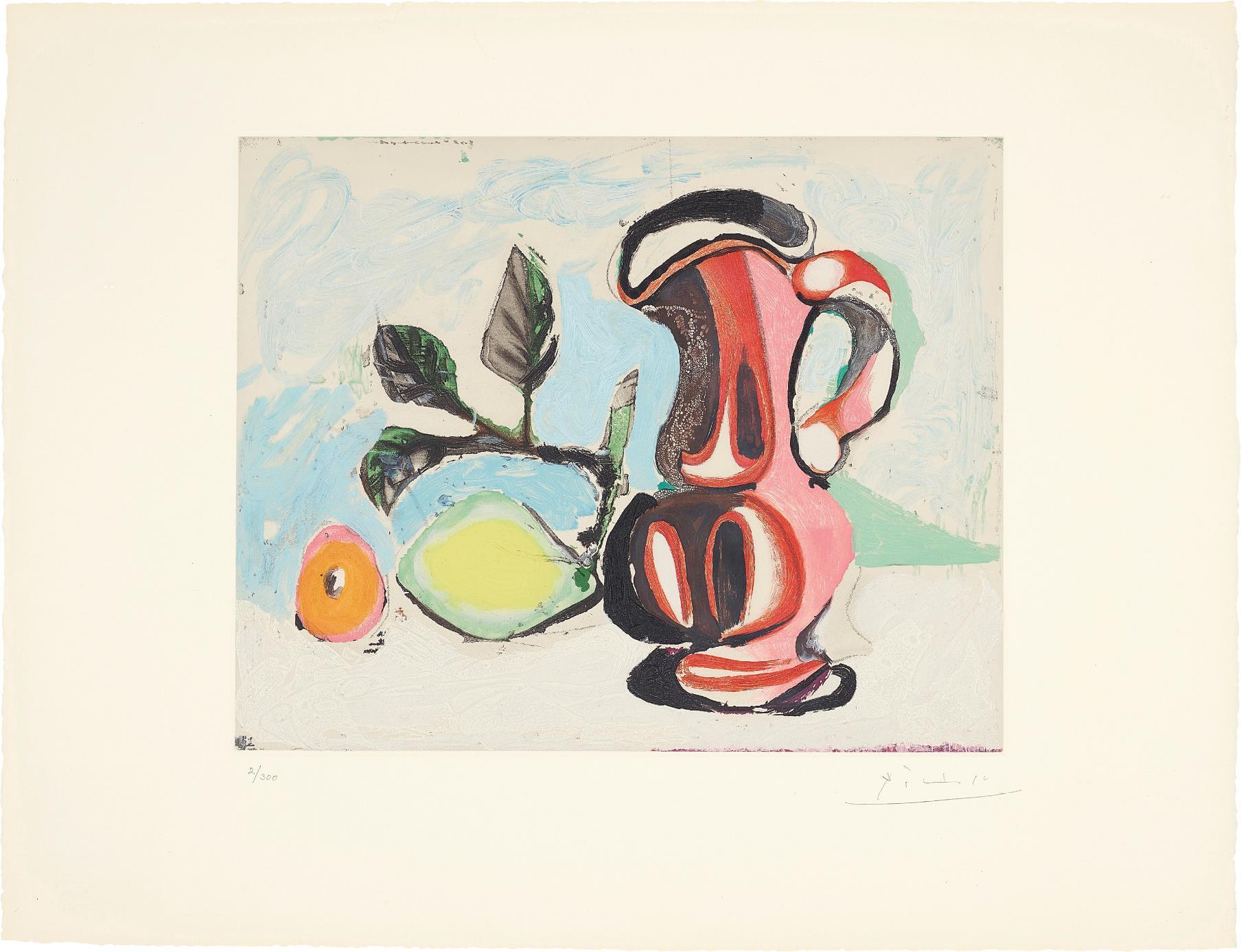 After Pablo Picasso - Nature Morte Au Citron Et Pichet Rouge (Still Life With Lemon And Red Pitcher)-1964