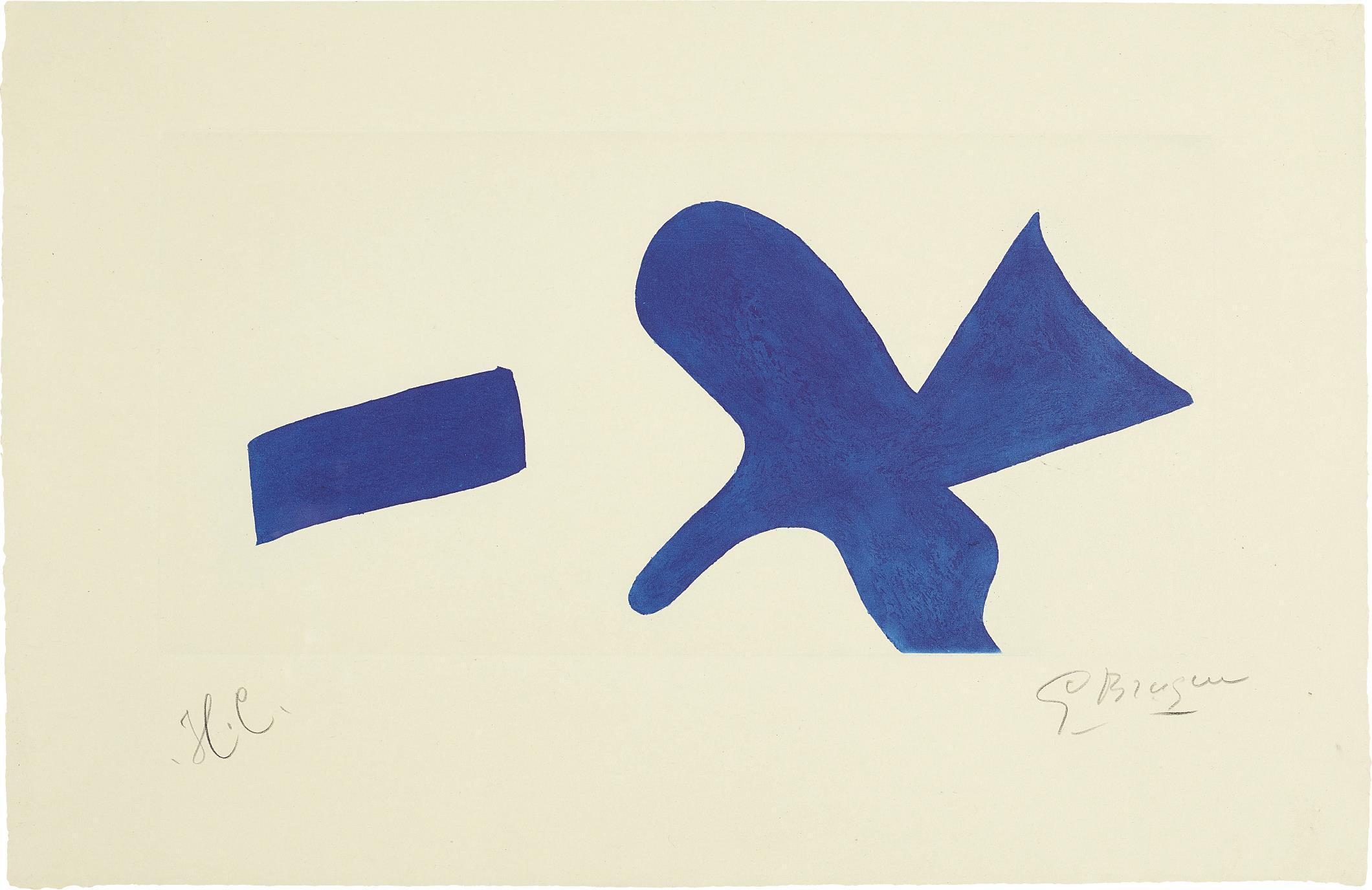 Georges Braque-Loiseau Bleu (Invitation Exposition Louis Broder Pour Le Livre De Braque) (The Blue Bird - Invitiation Exhibition Louis Broder For Braque Book)-1960