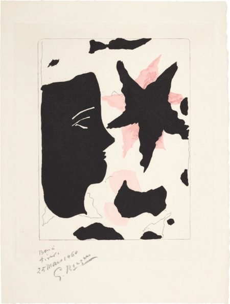 Georges Braque-Tete En Profil Et Letoile, For Nouvelles Sculptures Et Plaques Gravees (Head In Profile And Star, From New Sculptures And Engraved Plaques)-1960