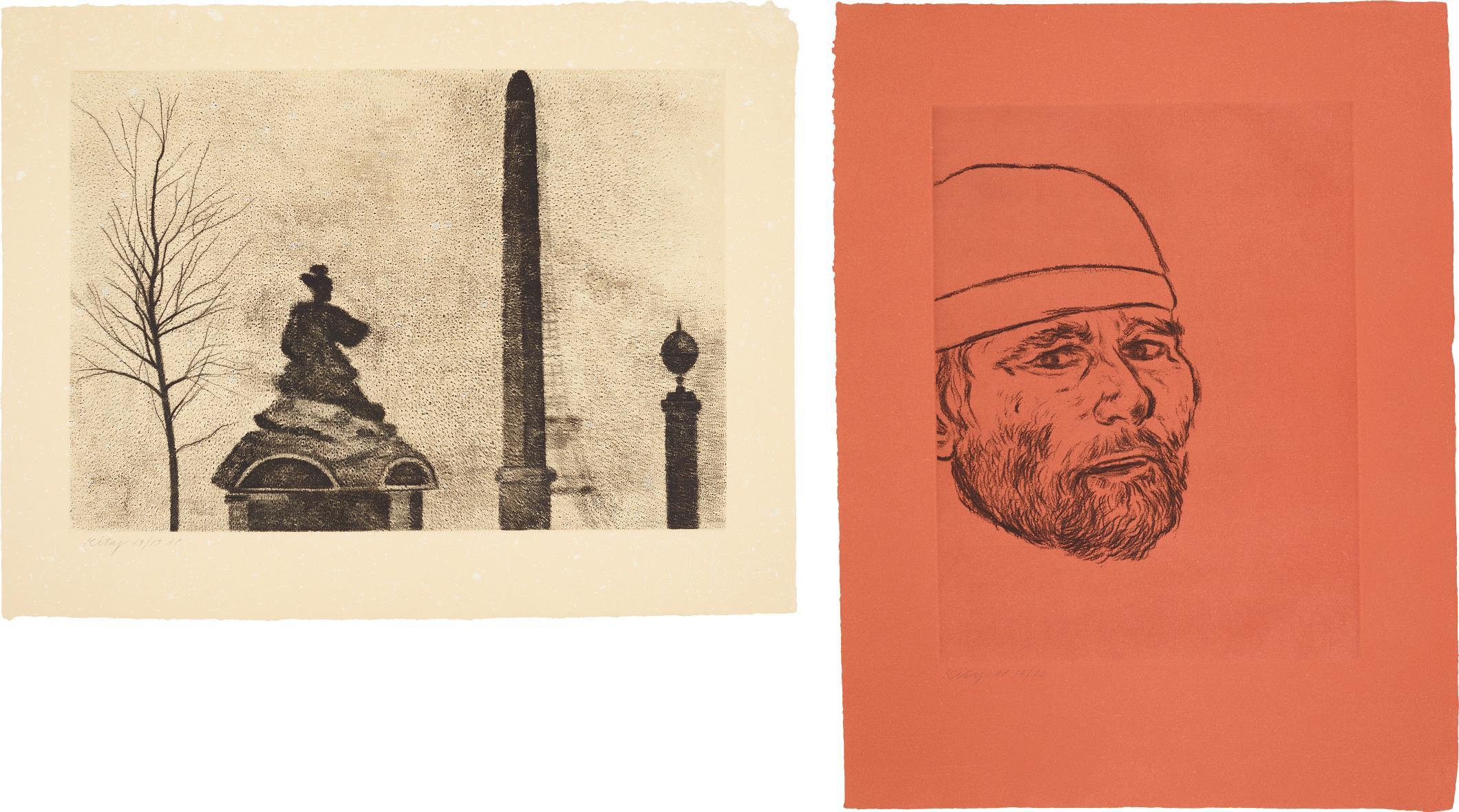 RB Kitaj-Place De La Concorde; And Self Portrait (After Matteo)-1982