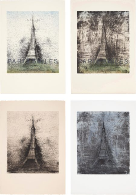 Jim Dine-Paris Smiles; Paris Smiles In Darkness; Retroussage Eiffel Tower; And Drypoint Eiffel Tower-1976