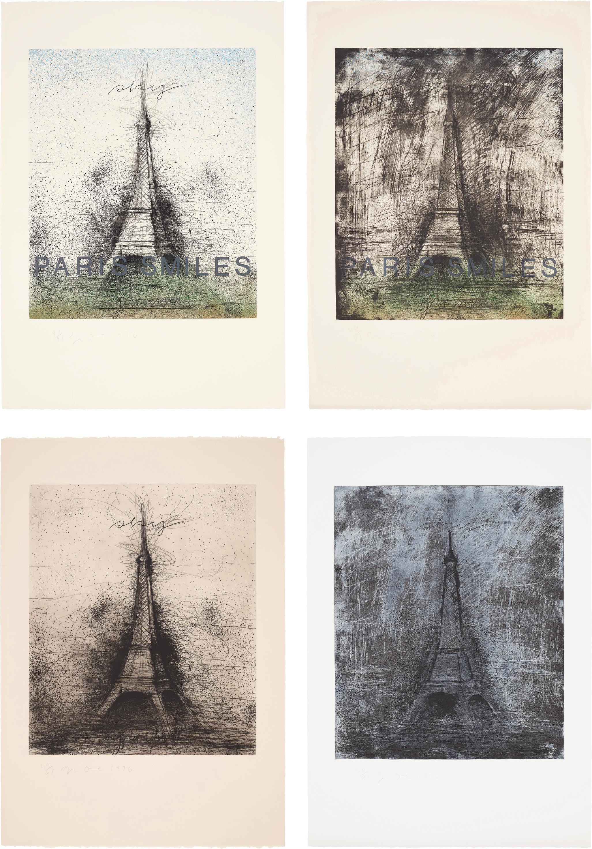 Jim Dine-Paris Smiles; Paris Smiles In Darkness; Retroussage Eiffel Tower; And Drypoint Eiffel Tower-1976