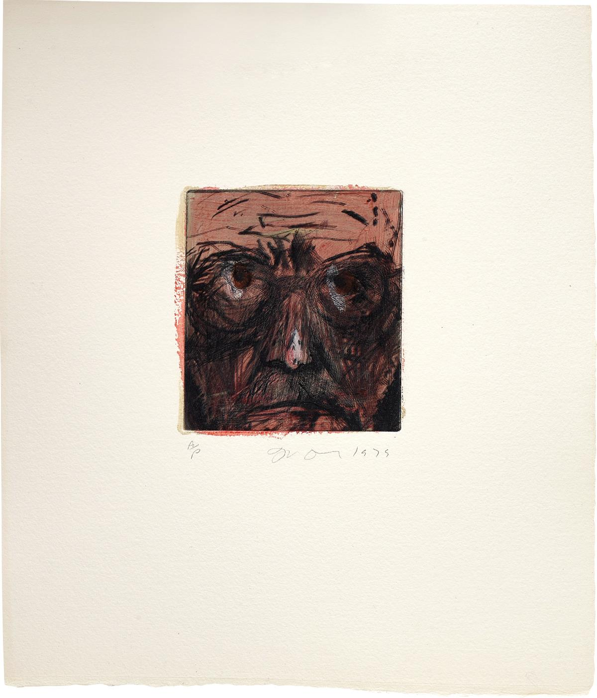 Jim Dine-Self-Portrait Hand Painted In Paris-1979