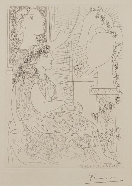 Pablo Picasso-Deux Modeles Vetus (Two Dressed Models), Plate 42, From La Suite Vollard-1933