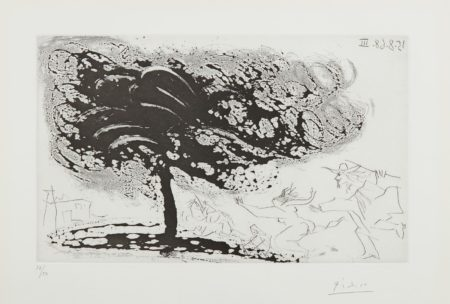 Pablo Picasso-Arbre Dans La Tempete, Avec Fuite Vers Une Eglise (Tree In The Storm, Escaping To A Church), Plate 281, From 347 Series-1968