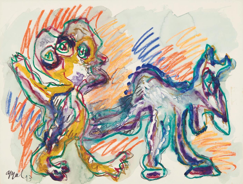 Karel Appel-Boy Walking A Dog-1993