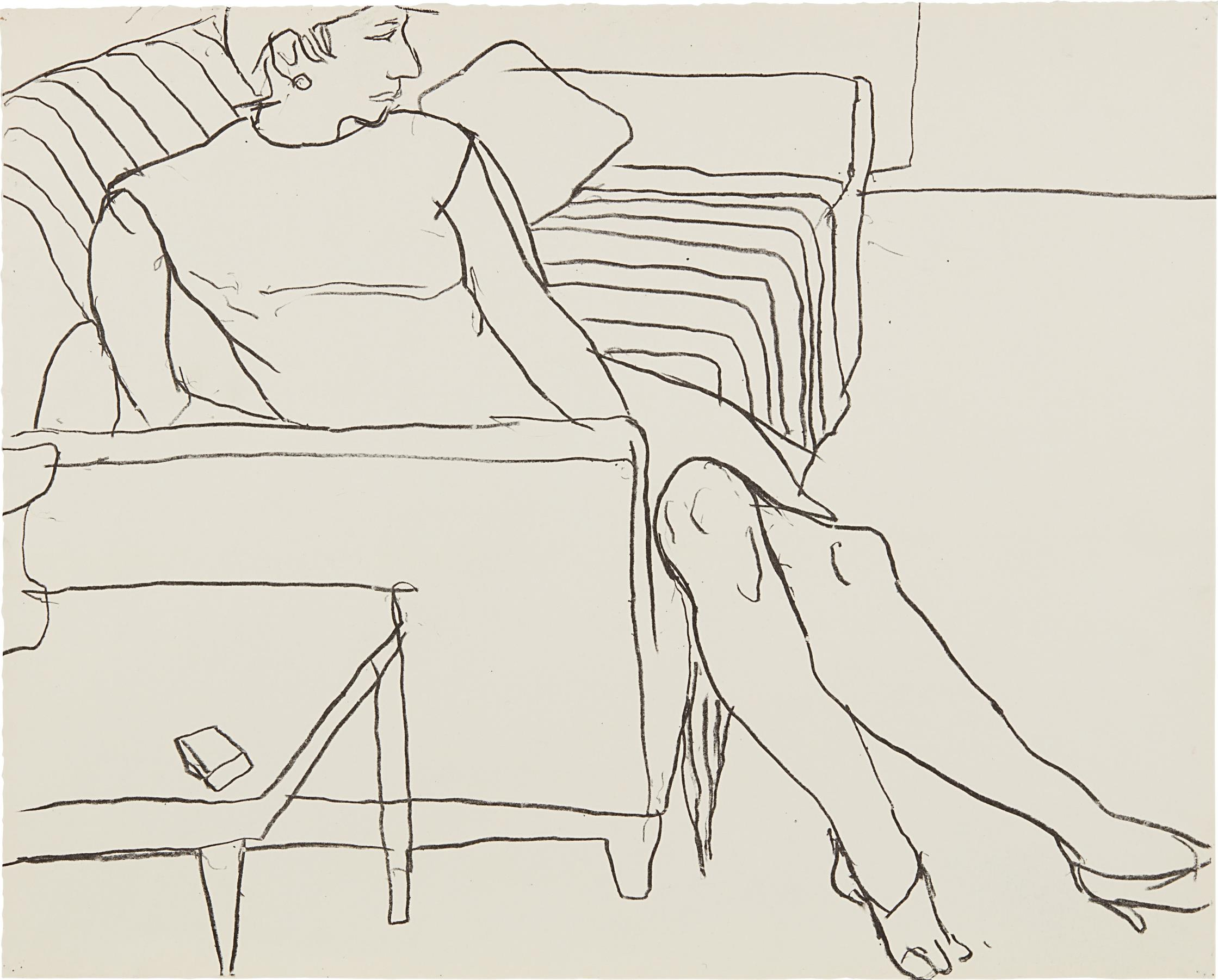Richard Diebenkorn-Woman Seated On Sofa-1965