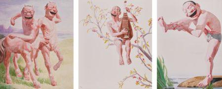 Yue Minjun-Untitled (Smile-Ism No. 6); Untitled (Smile-Ism No. 8); And Untitled (Smile-Ism No. 12)-2006