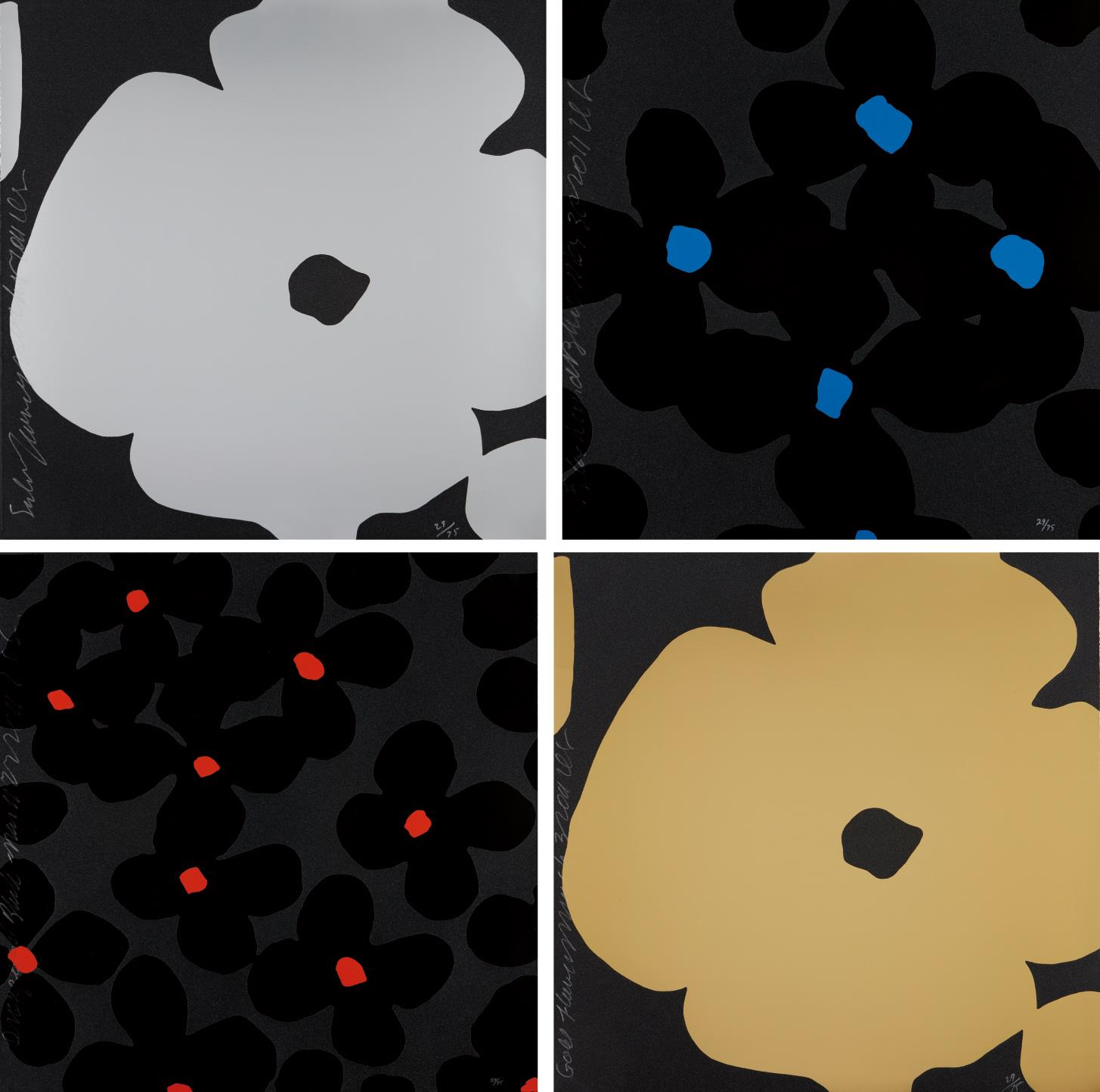 Donald Sultan-Silver Flowers; Gold Flowers; Black And Blue; And Orange And Black-2011