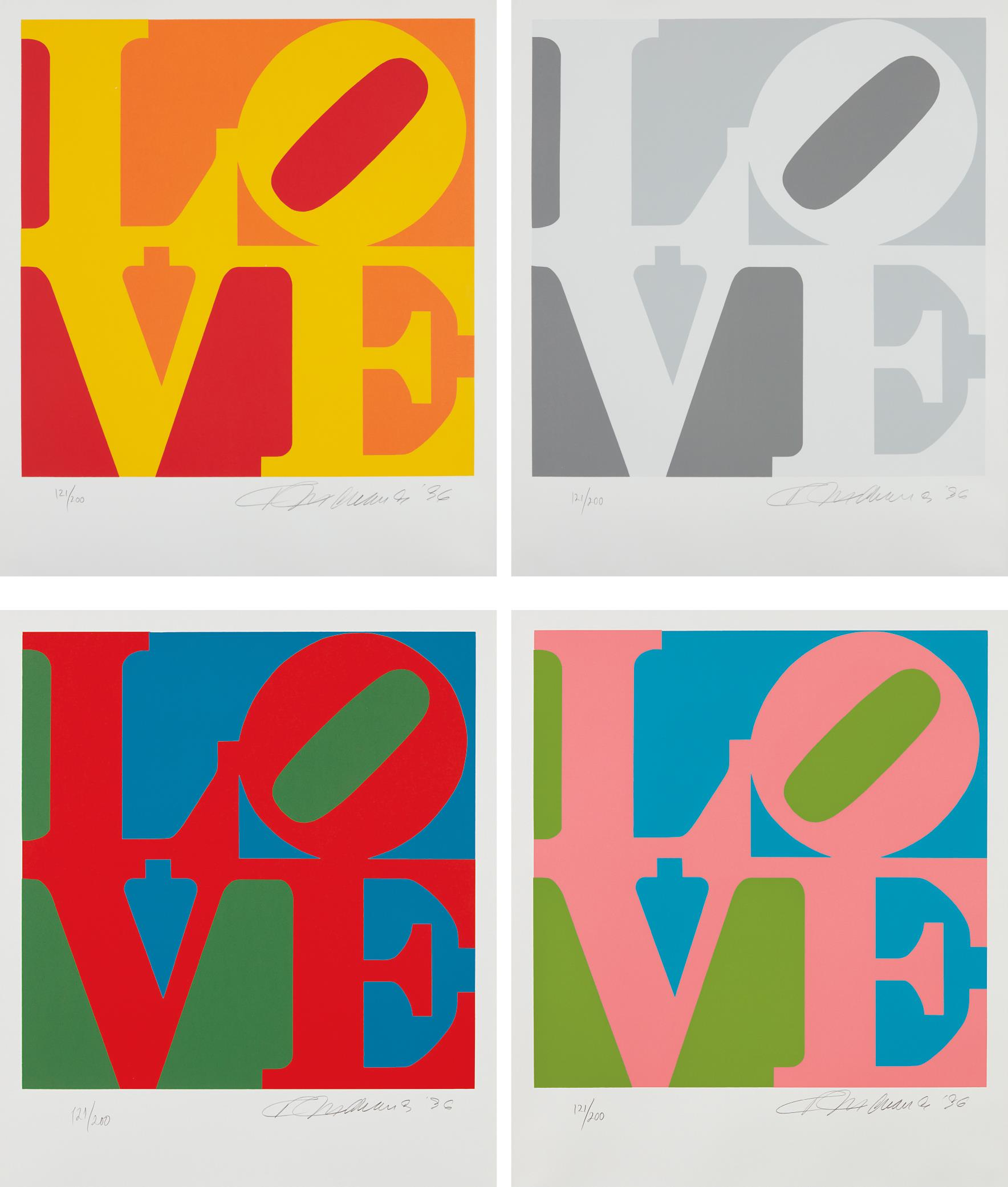 Robert Indiana-Book Of Love: Four Plates-1996