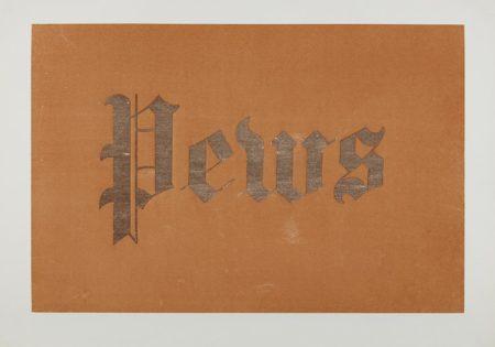 Ed Ruscha-Pews, From News, Mews, Pews, Brews, Stews, & Dues-1970