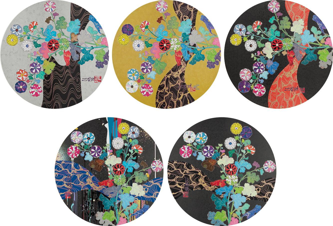 Takashi Murakami-A Red River Is Visible; Kansei: The Golden Age; Hokkyo Takashi - Kansei; Kansei: Wildflowers Glowing In The Night; And Korin: Stellar River In The Heavens-2015