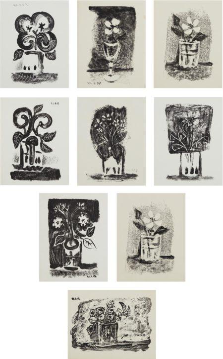 Pablo Picasso-Le Petit Pot De Fleurs (Small Pot Of Flowers); And Fleurs Dans Un Verre (Flowers In A Glass) Nos. 1-7-1947
