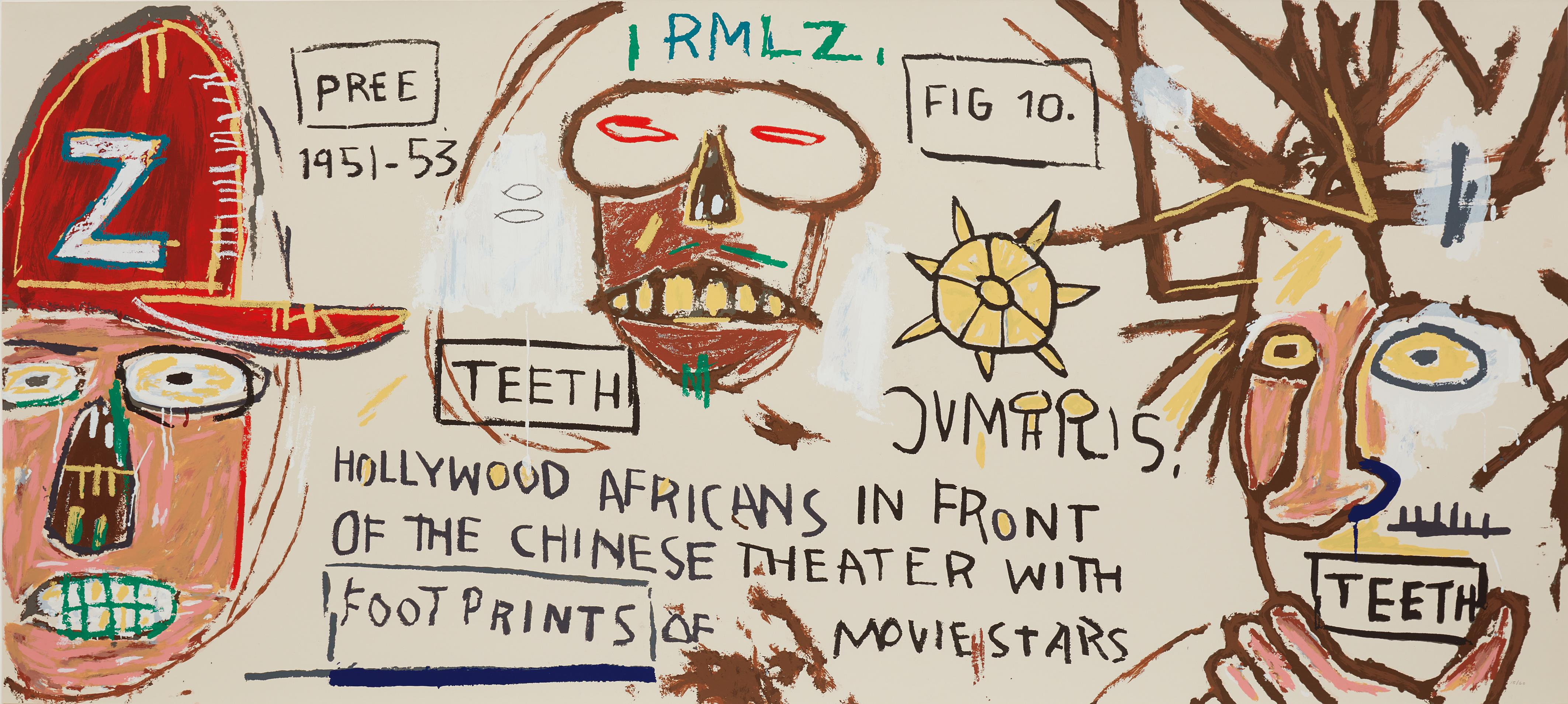 Jean-Michel Basquiat-After Jean-Michel Basquiat - Hollywood Africans In Front Of The Chinese Theater With Footprints Of Movie Stars-2015