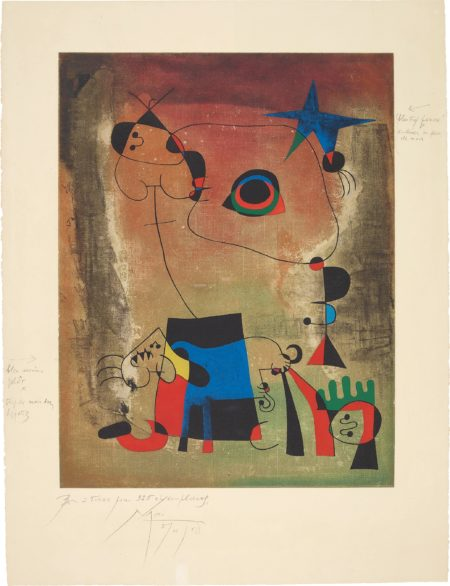 After Joan Miro - Le Chien Bleu (The Blue Dog)-1959