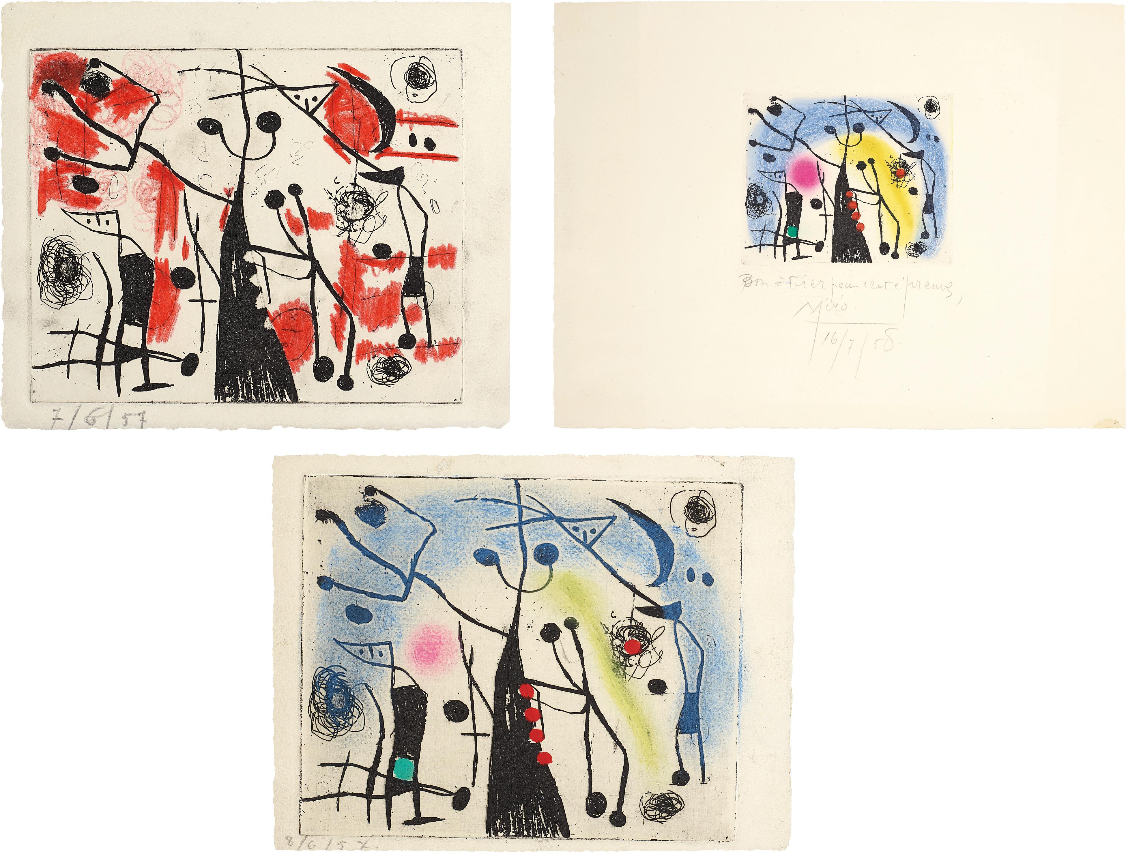 Joan Miro-Les Magdaleniens (The Magdalenians): Three Impressions-1958