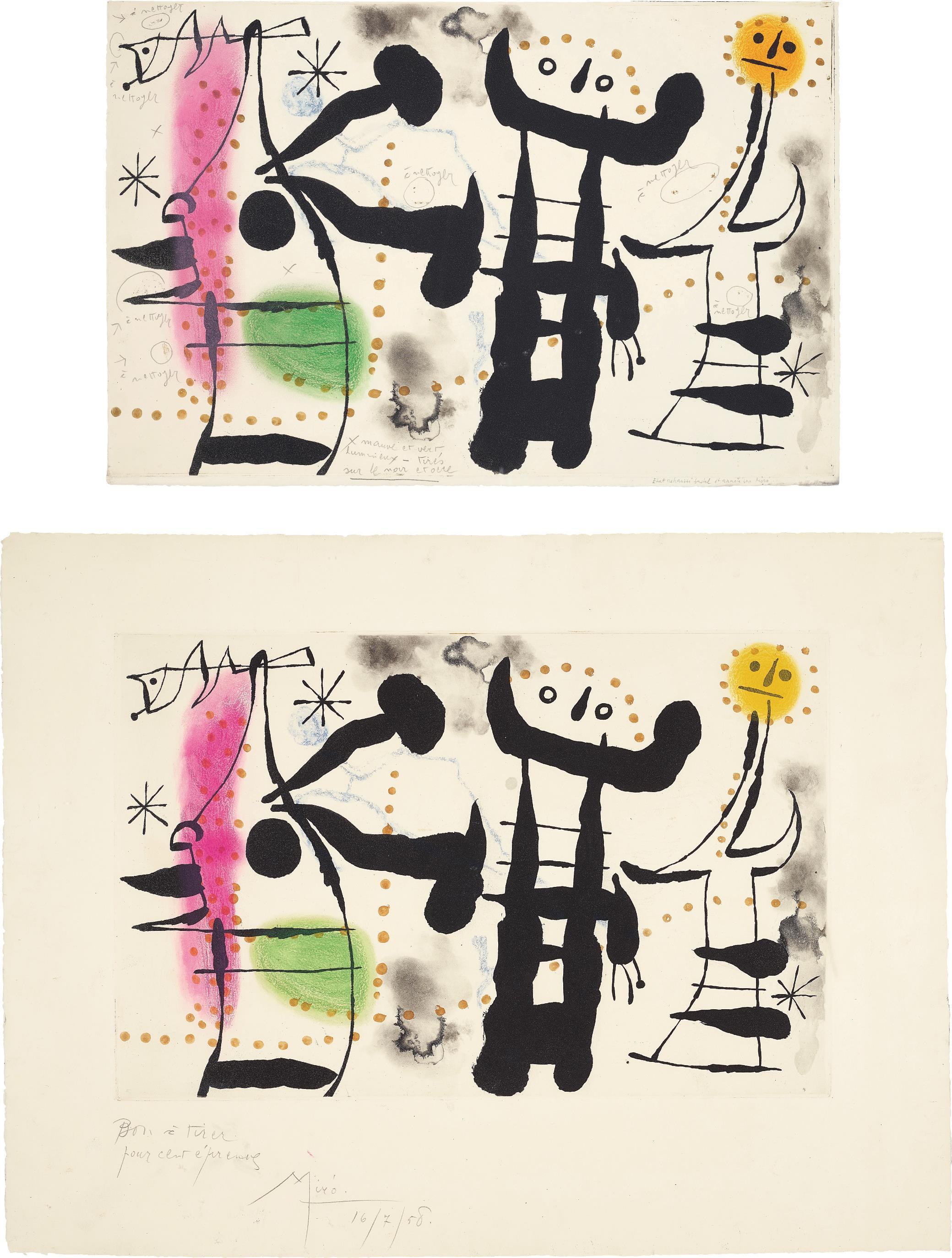 Joan Miro-Les Philosophes II (The Philosophers II): Two Impessions-1958