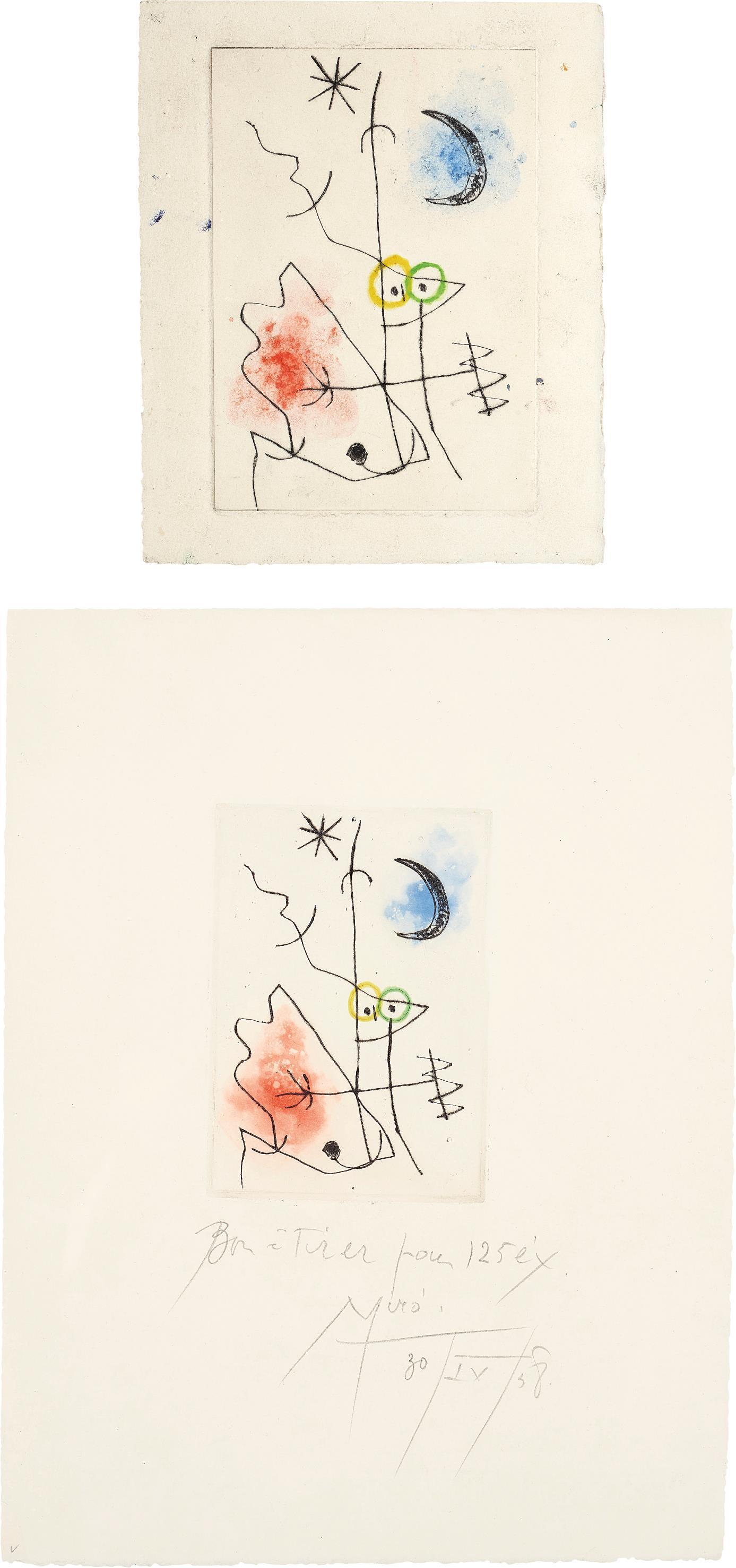 Joan Miro-Le Grillon (The Cricket): Two Impressions-1958
