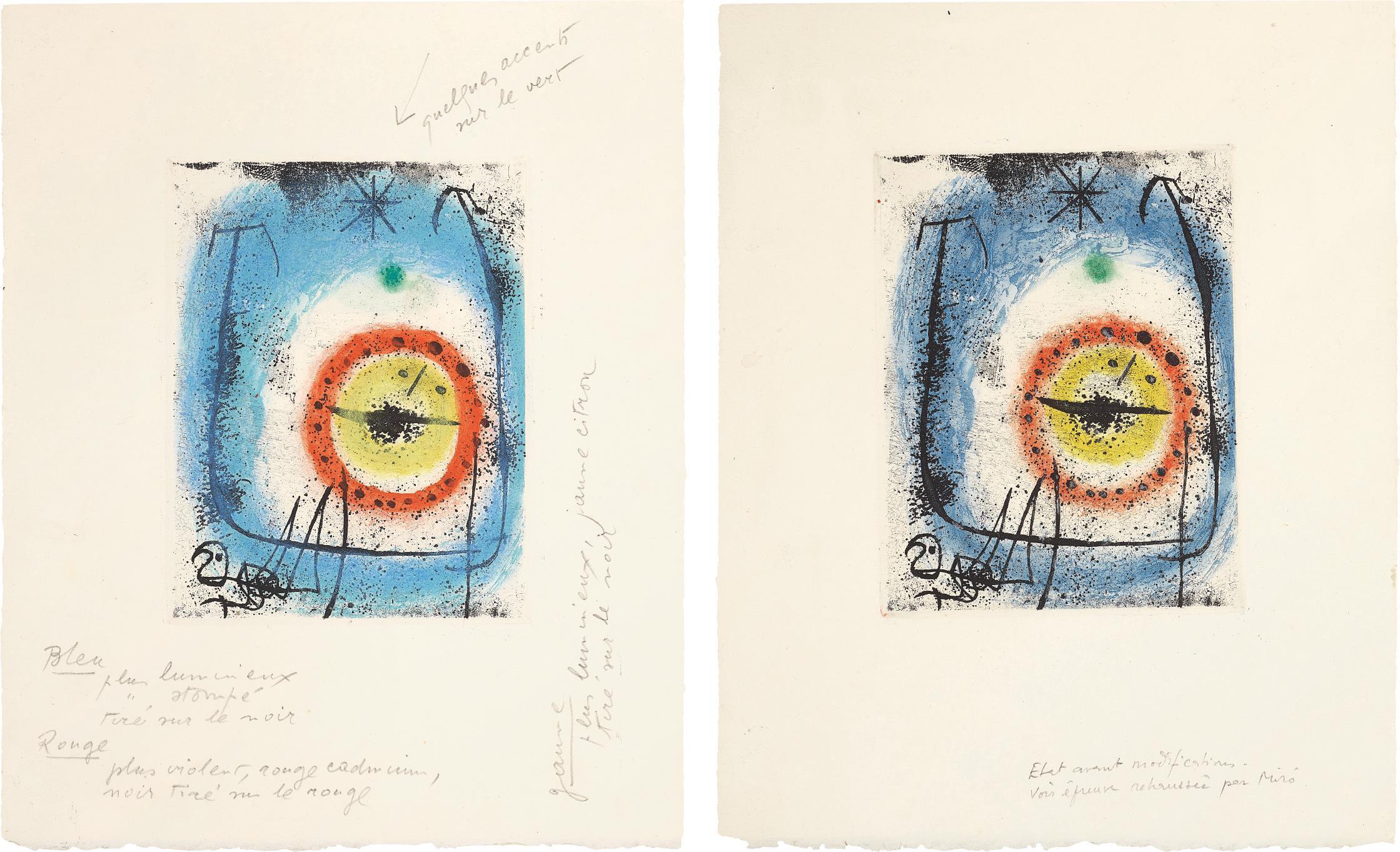 Joan Miro-Le Prophete (The Prophet): Two Impressions-1958