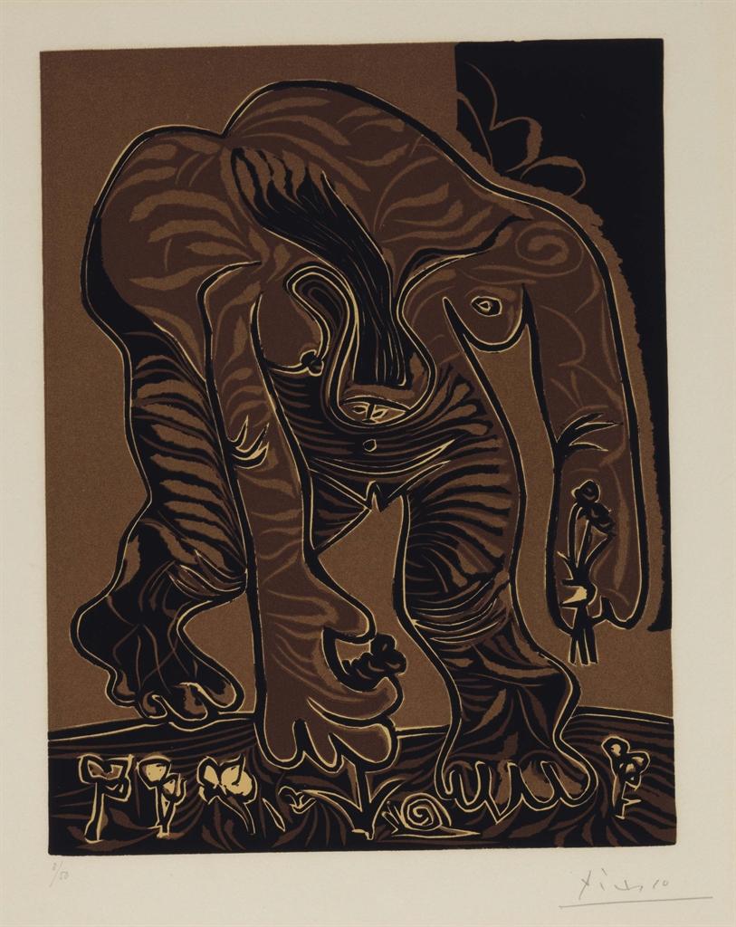 Pablo Picasso-Femme Nue Cueillant Des Fleurs-1962