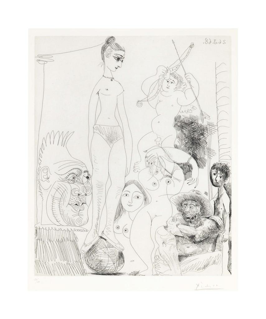 Pablo Picasso-Autoportrait Transpose Et Debouble Revant Au Cirque, Avec Jacqueline En Acrobate A La Boule, From La Serie 347-1968