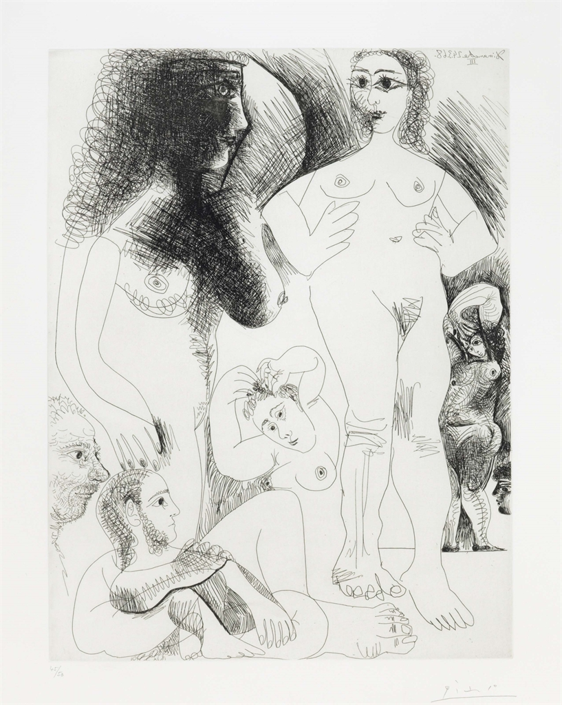 Pablo Picasso-Odalisques Avec Deux Hommes Revant, From La Serie 347-1968