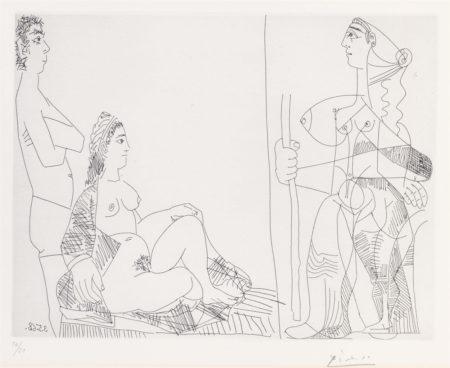 Pablo Picasso-Couple Et Voyageuse, From La Serie 347-1968