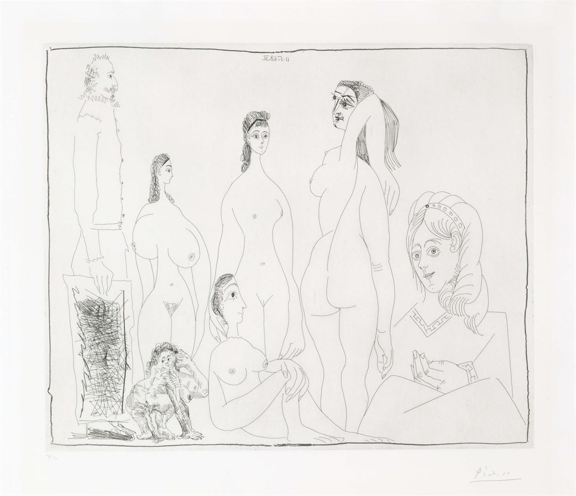 Pablo Picasso-Peintre Longiline Avec Des Femmes, Dont Une Petite Pisseuse, From La Serie 347-1968