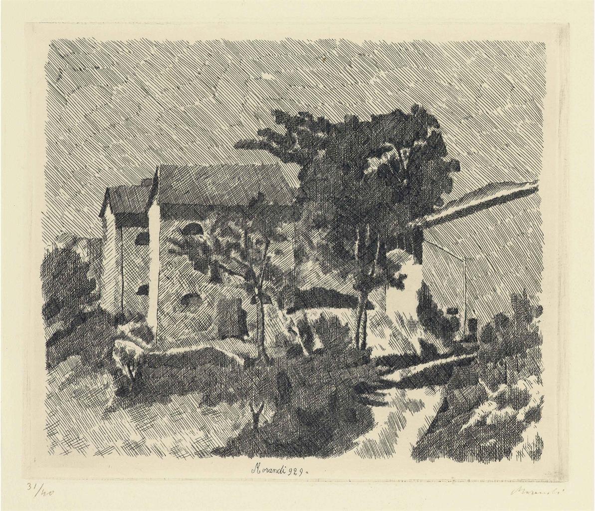 Giorgio Morandi-Le Tre Case Del Campiaro A Grizzana-1929