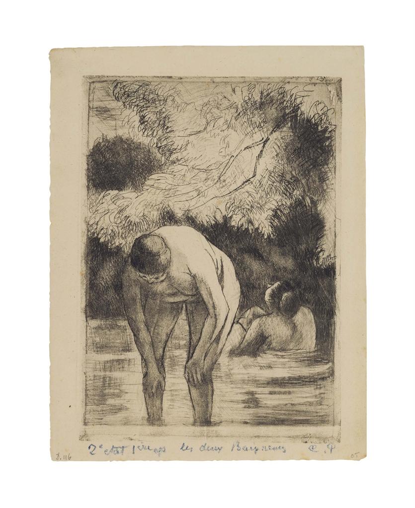 Camille Pissaro - Les Deux Baigneuses-1895