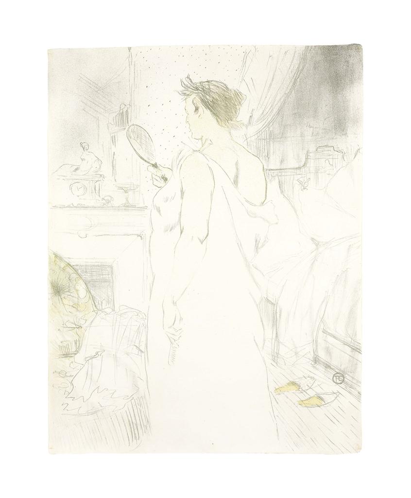 Henri de Toulouse-Lautrec-Femme A La Glace - La Glace A Main, From Elles; La Revue Blanche-1896