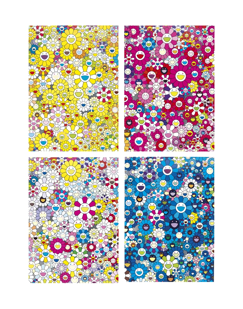 Takashi Murakami-Four Prints By The Artist: An Homage to Yves Klein, Multicolor D; An Homage to Manogold 1960 D; An Homage to IKB 1957 D; An Homage To Monopink 1960 D-2012