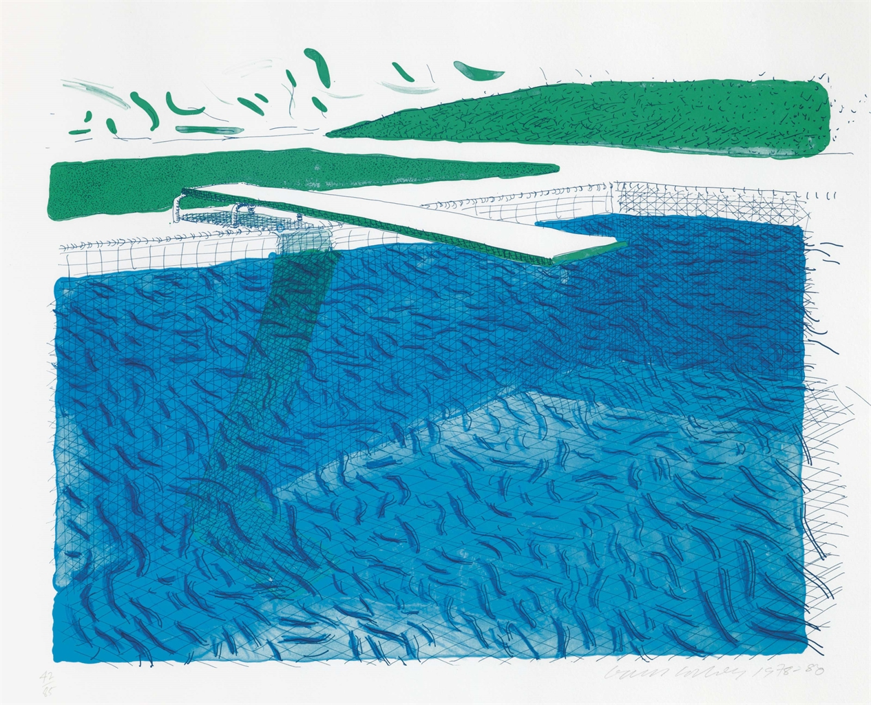 David Hockney-Lithographic Water Made Of Lines, Crayon, And Two Blue Washes-1980