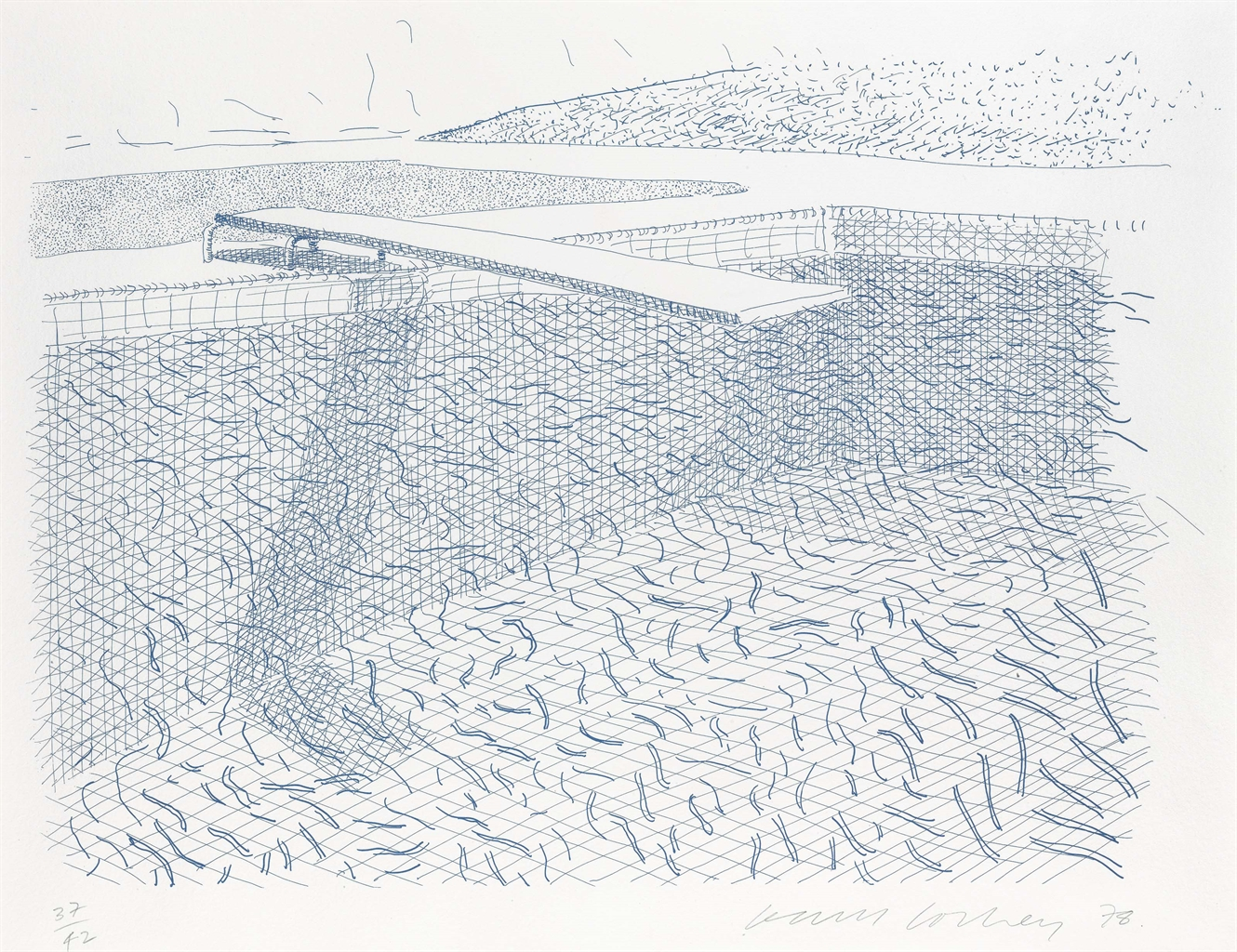 David Hockney-Lithographic Water Made Of Lines-1980