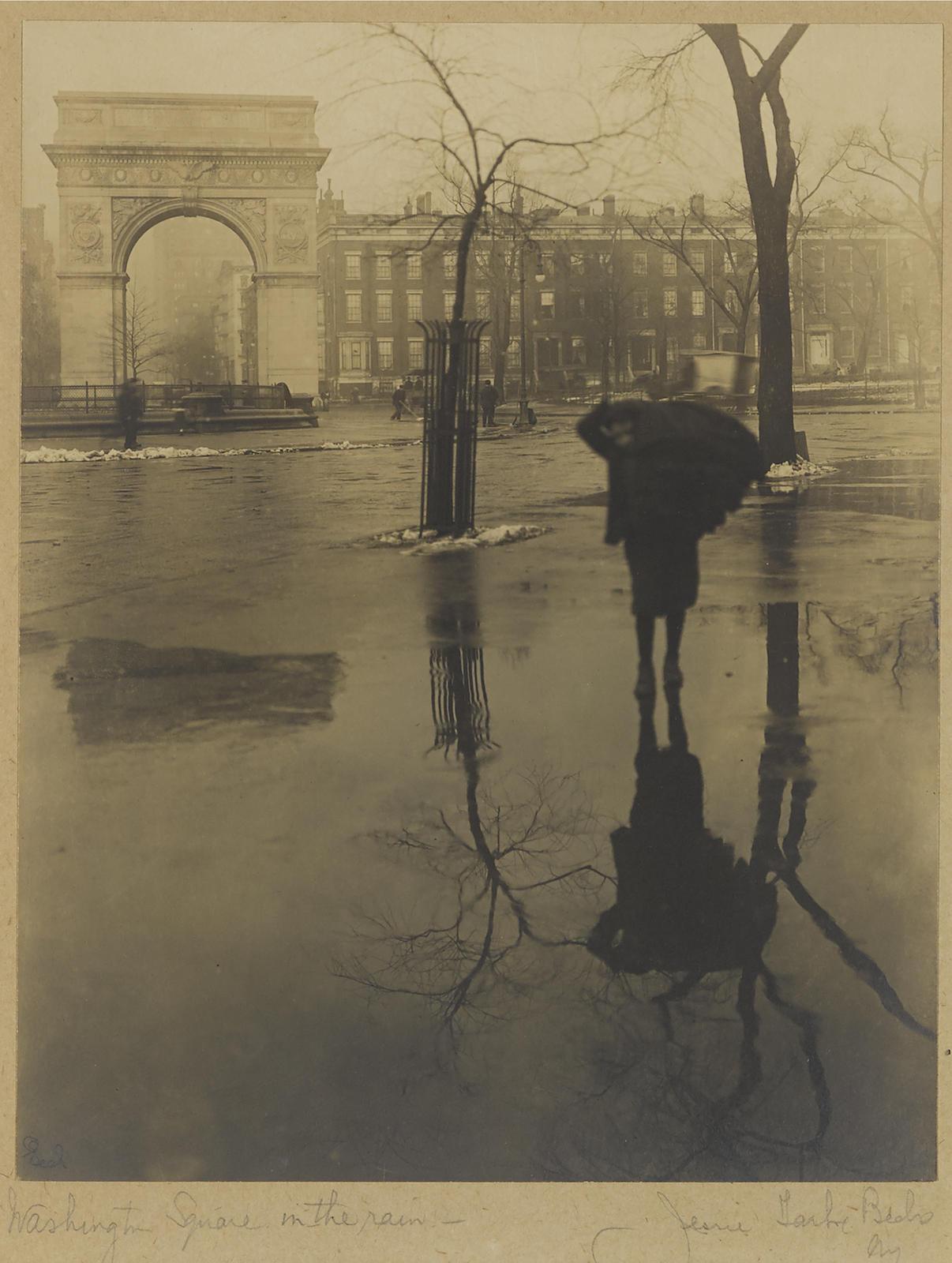 Jessie Tarbox Beals-Washington Square In The Rain-1910