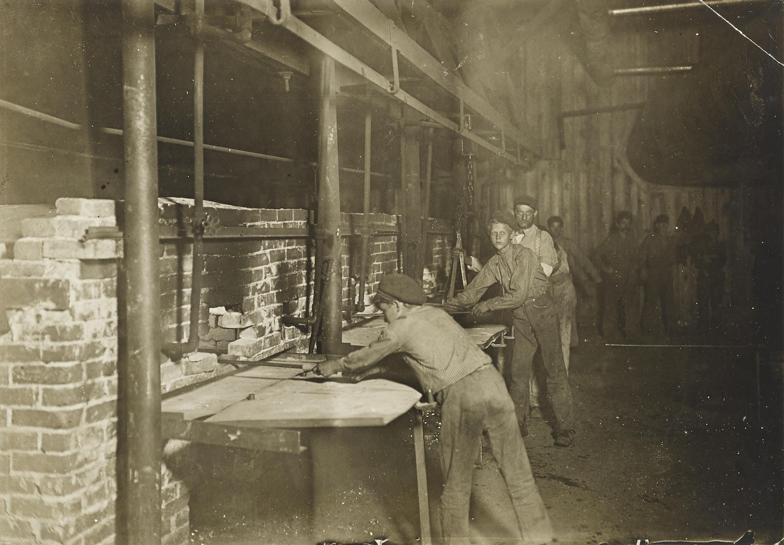 Lewis Wickes Hine-The Carrying-In Boys, Midnight At An Indiana Glass Works-1908