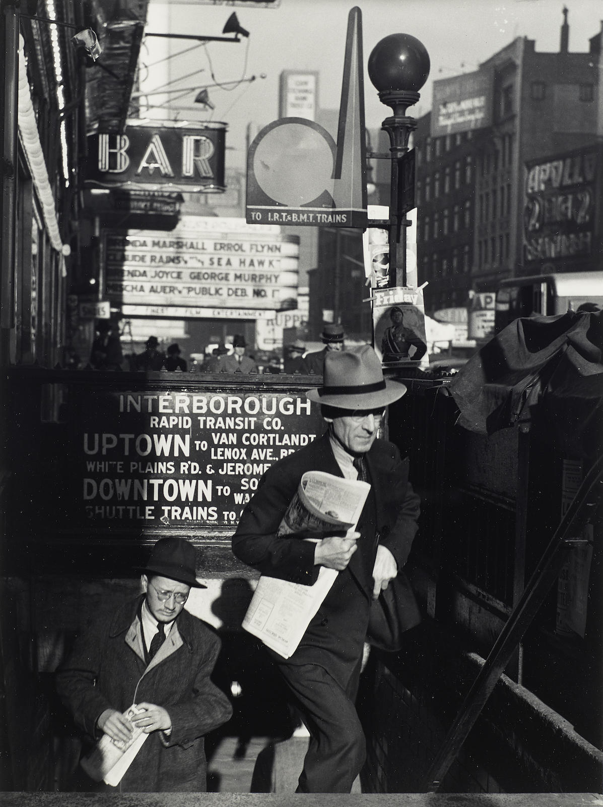 Lou Stoumen-Times Square In The Rain; Going To Work, Times Square, New York City-1940