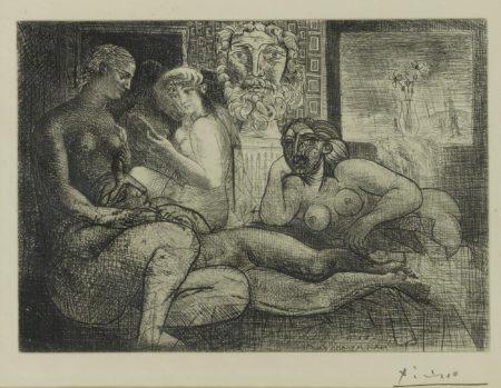 Pablo Picasso-Femmes Entre Elles Avec Voyeur Sculpte. Clin Doeil Au Bain Turc (Bloch 219; Baer 424)-1934