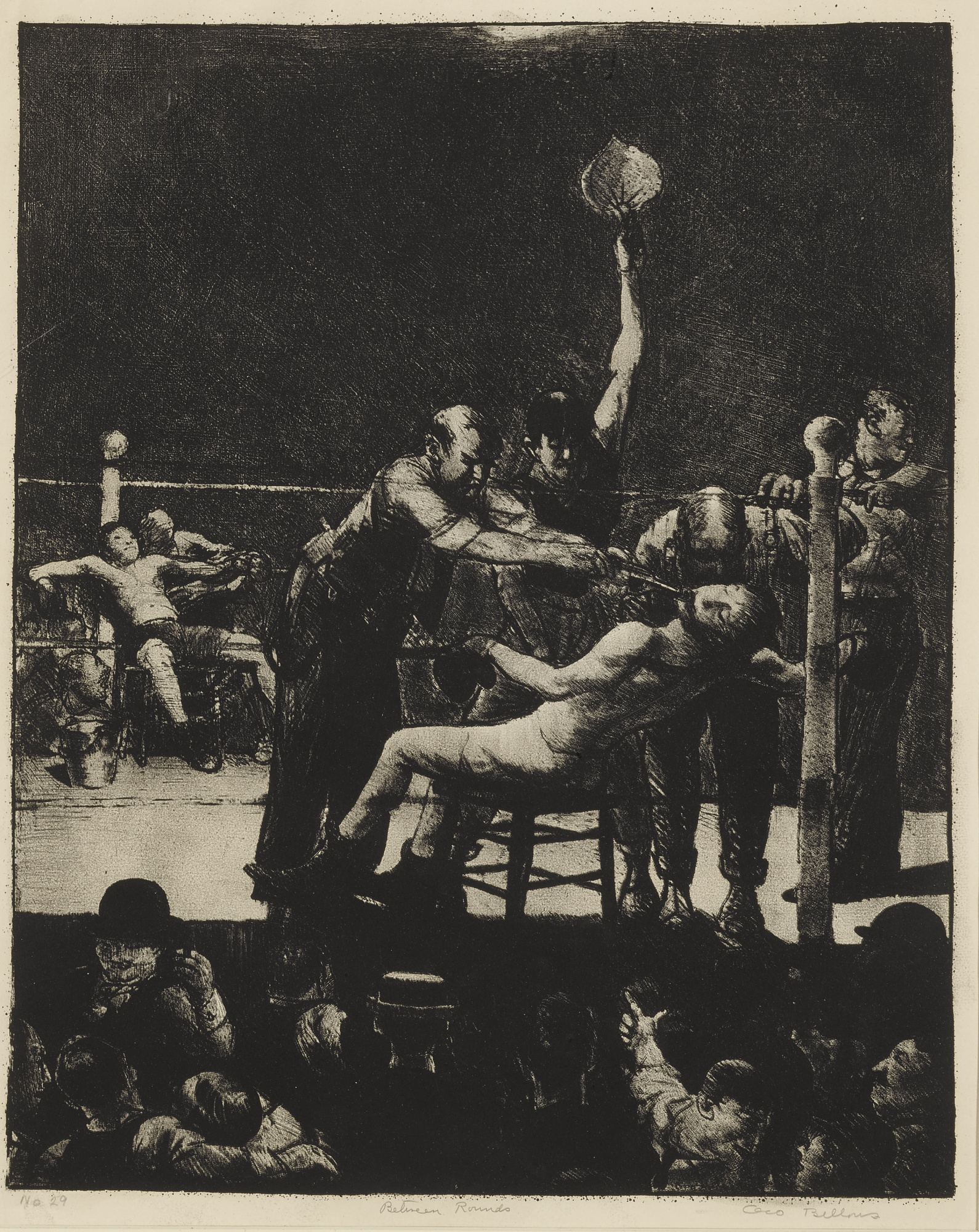 George Bellows-Between Rounds, Large, First Stone (M. 25)-1916