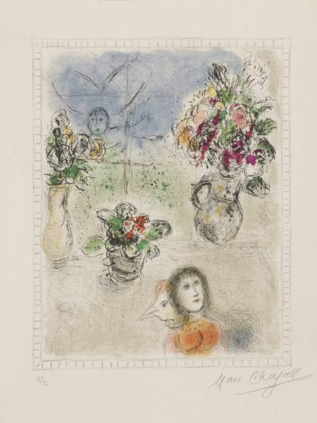 Marc Chagall-The Three Bouquets (M. 845)-1976