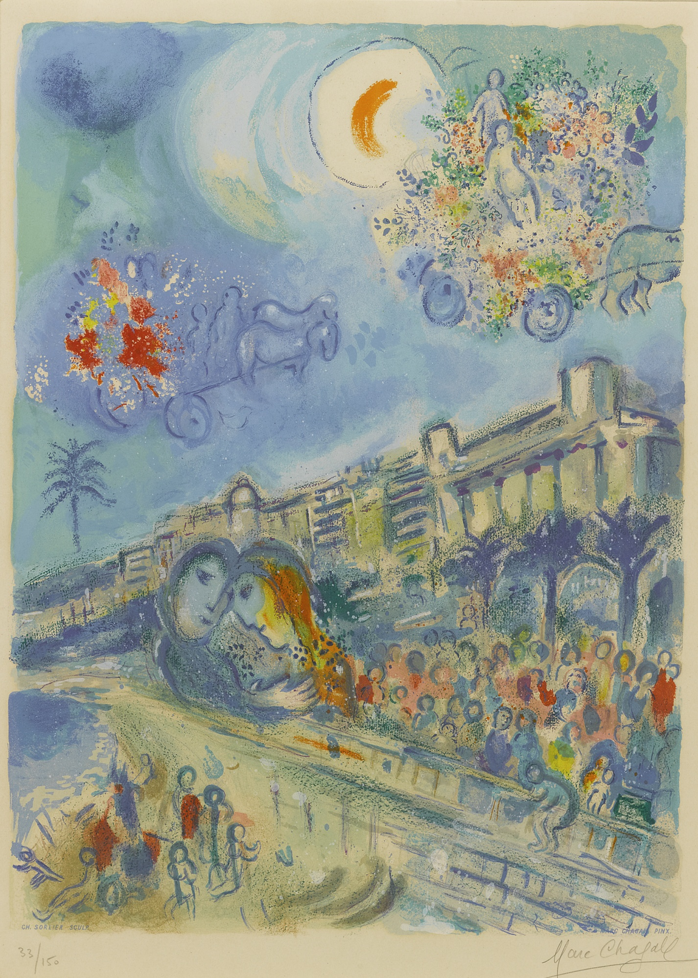 Charles Sorlier-Marc Chagall-Charles Sorlier After Marc Chagall - Bataille De Fleurs (M. Cs 33)-1967