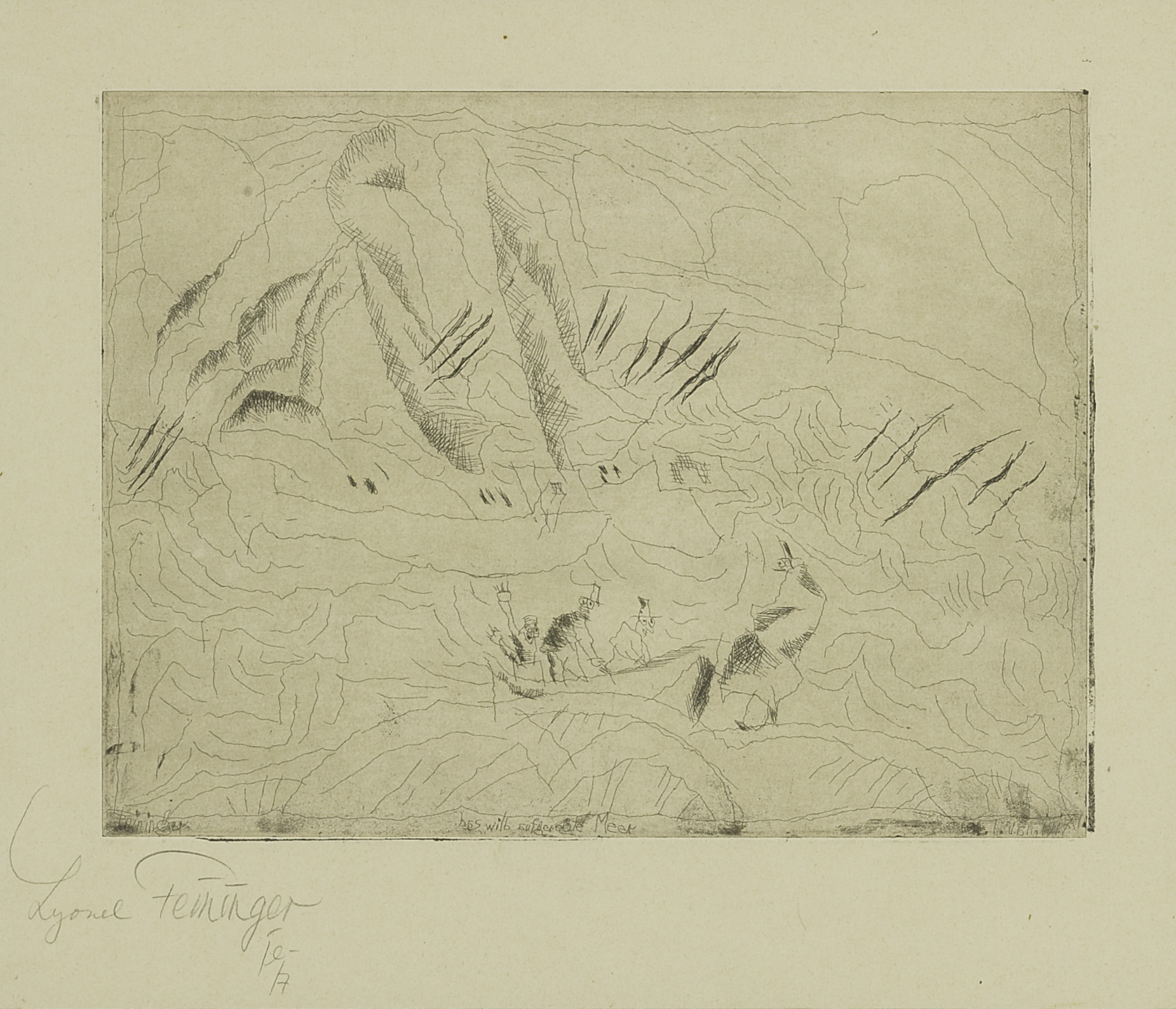 Lyonel Feininger-The Wild Agitated Sea (Das Wild Aufgeregte Mer) (P. E 62)-1917
