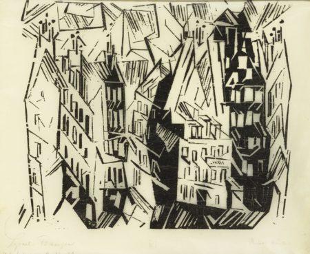 Lyonel Feininger-Pariser Hauser (Houses In Paris) (P. W 76)-1918