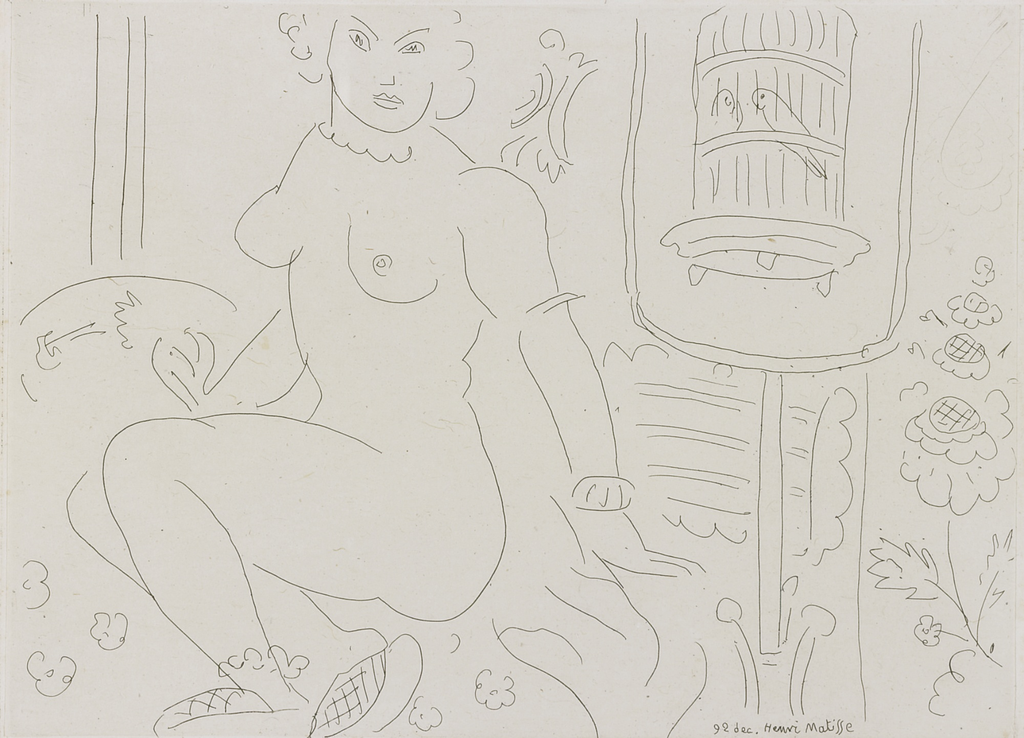 Henri Matisse-Nu Pres Dune Cage De Perruches (D. 212)-1929