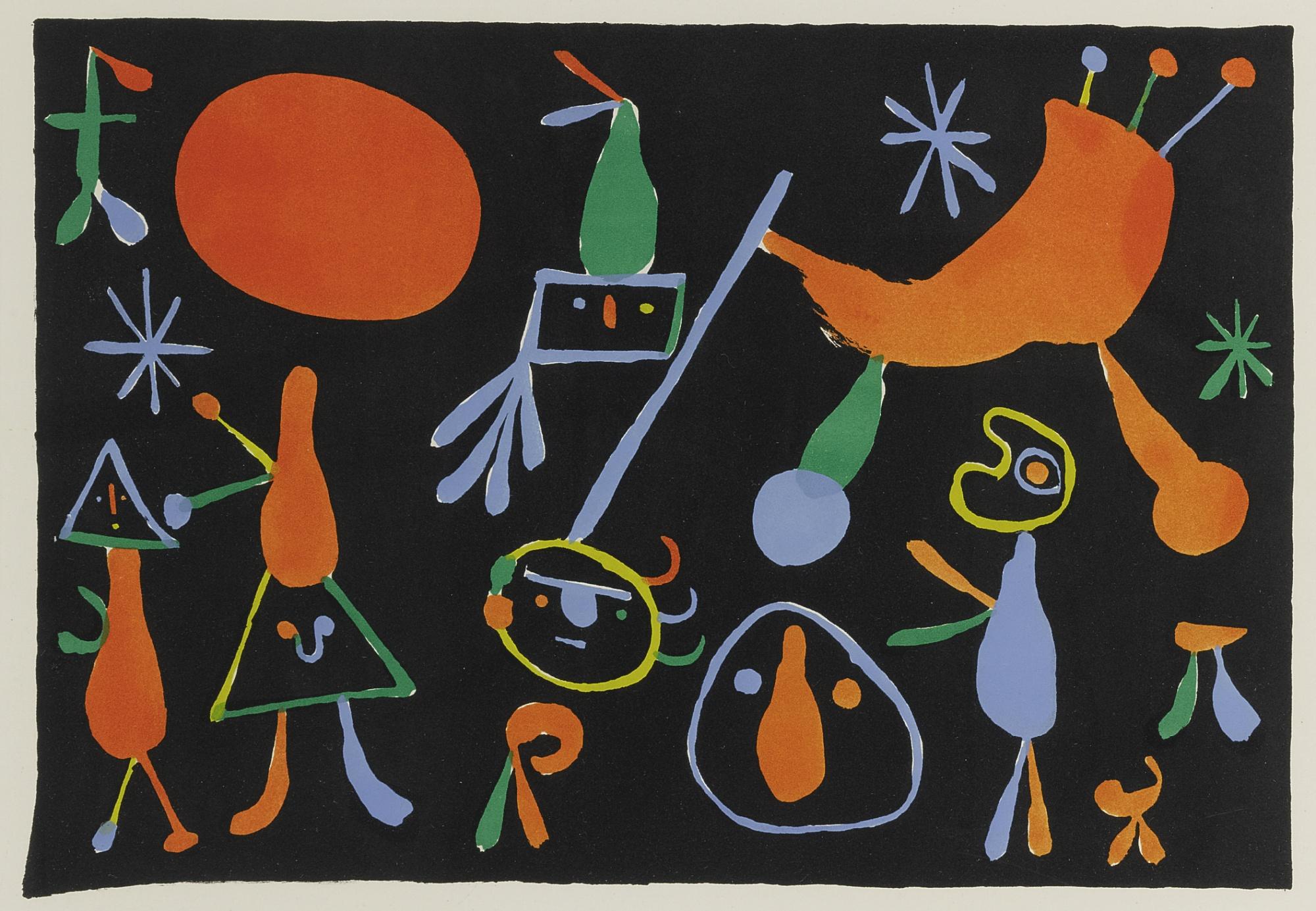 Joan Miro-Personnages Sur Fond Noir (Mourlot 90)-1948