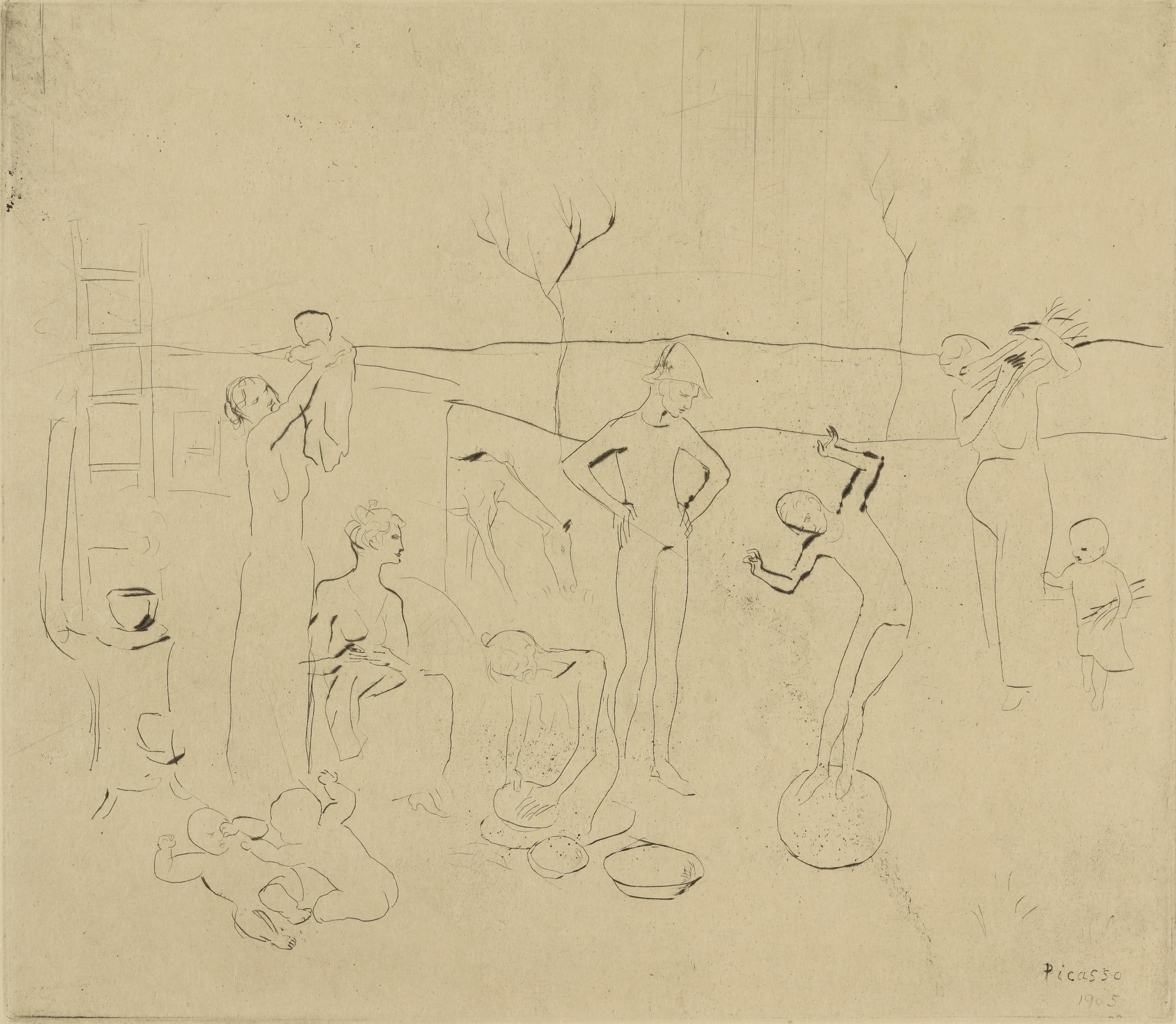 Pablo Picasso-Les Saltimbanques (B. 7; Ba. 9)-1905
